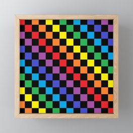 Checkered Rainbow Black Framed Mini Art Print