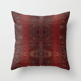 Red Python Snakeskin pattern Throw Pillow