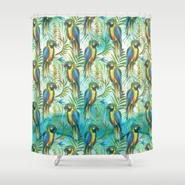 Watercolor blue yellow tropical parrot bird floral Shower Curtain