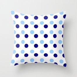 new polka dot 15- blue Throw Pillow