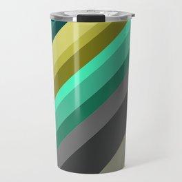 green brown yellow grey stripes Travel Mug