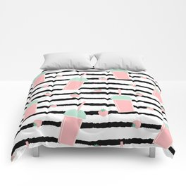cute lovely pattern background with strawberry smoothies on black brush Comforters