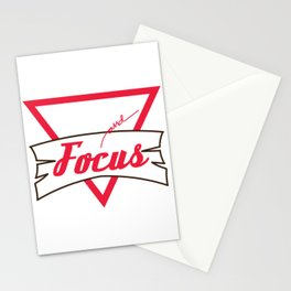 Motivational Focus Tshirt Design Stop and Focus Stationery Cards