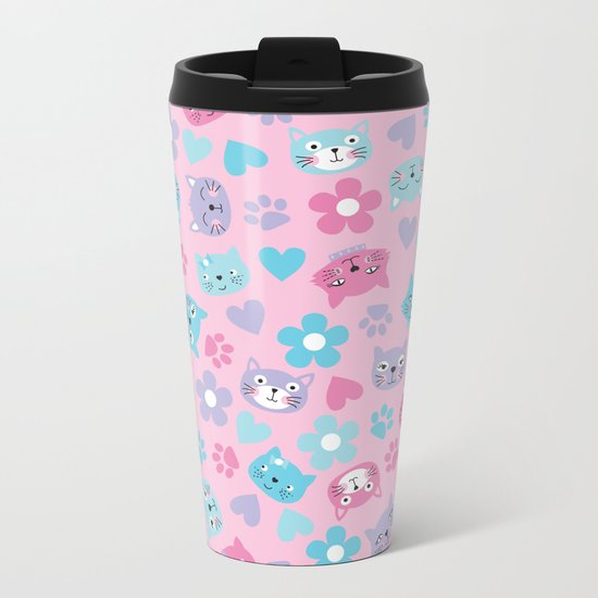 Kitty Cat Pattern by Everett Co Metal Travel Mug