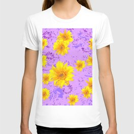 LILAC PURPLE ABSTRACT YELLOW FLOWERS ART T-shirt