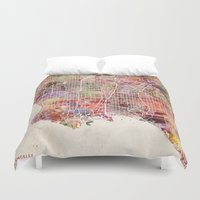 los angeles Duvet Covers featuring Los angeles by MapMapMaps.Watercolors