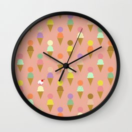 Ice Cream Cone Pattern Pink Robayre Wall Clock