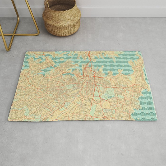 Sydney Map Retro Rug By Hubertroguski