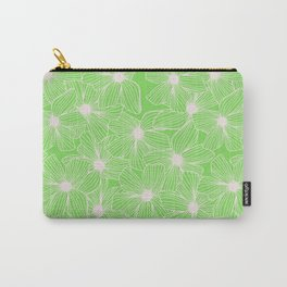 02 White Flowers on Green Carry-All Pouch