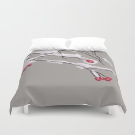 Winter Berries Branches Covered In Snow Duvet Cover
