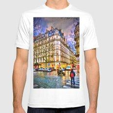 Rainy evening in Paris, France MEDIUM Mens Fitted Tee White