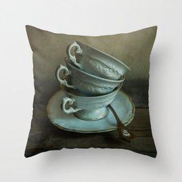 White teacups set Throw Pillow
