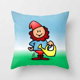 Gnome in the garden Throw Pillow