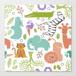 Zoo Pattern in Soft Colors Canvas Print