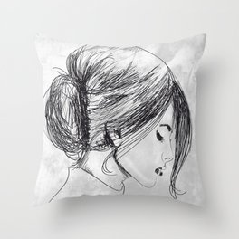 Hand drawn beautiful woman Throw Pillow