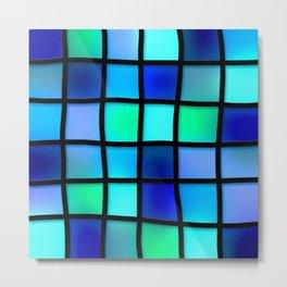 Blue and Green Tiles Metal Print