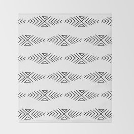 mudcloth 11 minimal textured black and white pattern home decor minimalist beach Throw Blanket