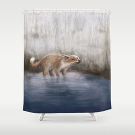 Morning lakeside visitor Shower Curtain