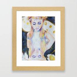Celestial Daisy Girl Framed Art Print