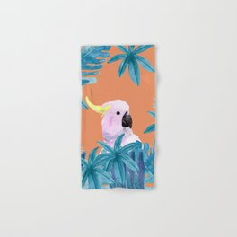 Cockatoo with tropical foliage and a coral background Hand & Bath Towel