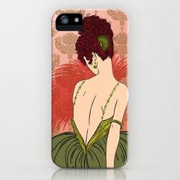 Art Deco Lady with Damask - BIANCA: Antique Autumn iPhone Case