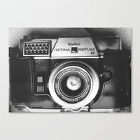 vintage camera Canvas Prints featuring Camera by Pauline Gauer