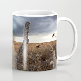 February Rain - Old Fence Post and Storm on Winter Day in Oklahoma Coffee Mug