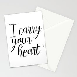 I Carry Your Heart Print, Love Print, Above Bed Art, Inspirational Print, Love Poem Stationery Cards