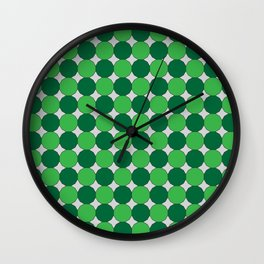 Green Dodecagons on Silver Wall Clock
