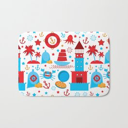 pattern with sea icons on white background. Seamless pattern. Red and blue Bath Mat