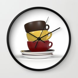Coffee Cup Stack Wall Clock