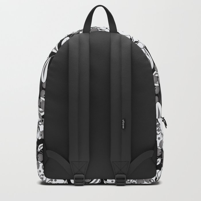 White flowers on a black background. Backpack