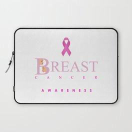 Breast cancer awareness support with text and pink ribbon Laptop Sleeve