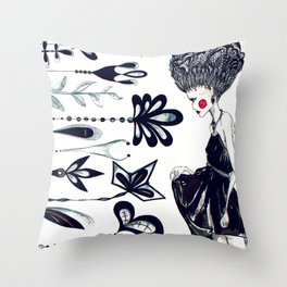 Diamonds and Flowers_01 Throw Pillow