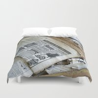 newspaper Duvet Covers featuring Old Newspaper Left to the Elements...Furnish Your Home in Style by Andrea Jean Clausen - andreajeanco