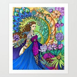 Peacock Goddess Art Print