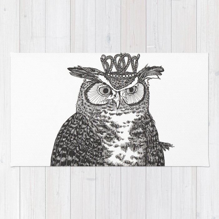 Great Horned Owl Wearing a Glittering Crown Rug
