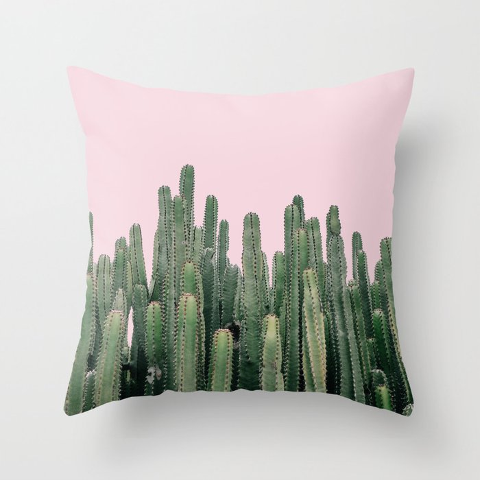 Pink Sky Cactus Throw Pillow