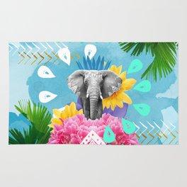 Elephant Festival - Blue Rug