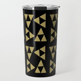 Print 127 - the legend of Zelda Triforce - Black Travel Mug
