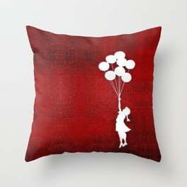 Banksy the balloons Girls silhouette Throw Pillow