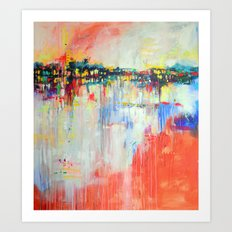 on the water,  expressive landscape, abstract Art Print