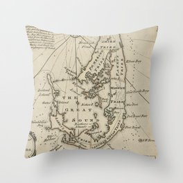 Vintage Map of Bermuda (1752) Throw Pillow