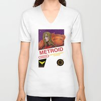 metroid V-neck T-shirts featuring NES Metroid  by IF ONLY