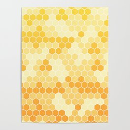 Honeycomb Yellow and Orange Geometric Pattern for Home Decor Poster