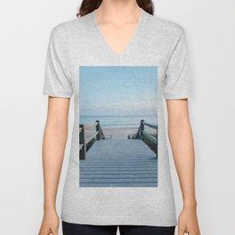 beachy pier by the ocean Unisex V-Neck