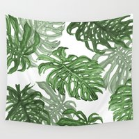 palms Wall Tapestries featuring Monstera Deliciosa by Laura O'Connor
