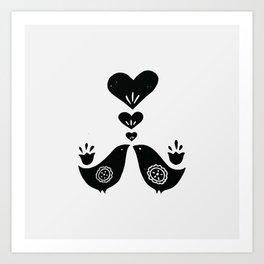 Scandinavian Love Birds Art Print