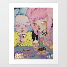 Breakfast Babes Art Print