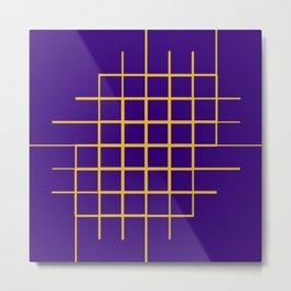 Blue & Gold Matrix Metal Print